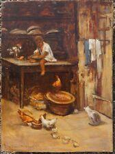 Bub mit Hühnern und Katze, Öl auf Holz, signiert, 1876