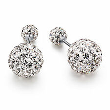 Fashion Women Jewelry Crystal Double Sided Pearl Earings Stud Earring Ball Bead