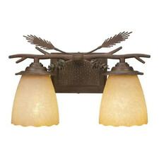 Vanity Light Dimmable Hardwired Weathered Spruce Colored Glass Rustic Copper