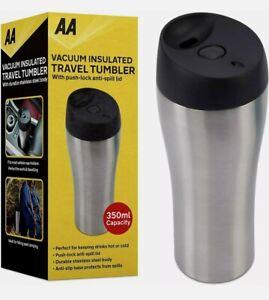 2 x AA Vacuum Insulated Travel Tumbler Mug 350ml Anti-Spill Lid Stainless Steel