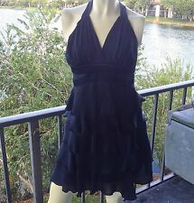 Dress Black Party Size 3/4 Tiered Ruffle Skirting Chiffon Satin Lined XOXO