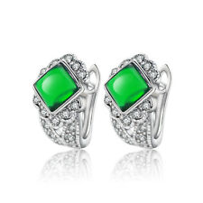 White Gold Plated & Emerald Green Crystal Stone Hoops Women Earrings E998