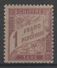 "FRANCE STAMP TIMBRE TAXE 39 "" DUVAL 1F ROSE SUR PAILLE 1896 "" NEUF x TTB  N214"