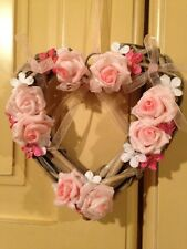 Wicker Heart Shabby Chic Country Farmhouse Floral Roses Pink