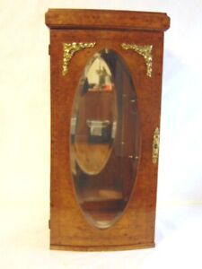 FRENCH ANTIQUE STYLE BURL WALNUT W/ MARQUETRY DISPLAY CASE W/ BEVELED GLASS