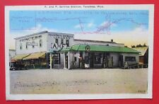 A and F Service Texaco Gas Station Tensleep WY Unposted Pre Linen Postcard
