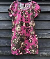 JOULES Pink/Brown Floral Flax Cotton Blend Tunic Top UK10 EU38