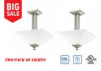 PAIR OF TWO Semi-Flush Mount Ceiling Lights in Brushed Nickel Satin Etched Glass