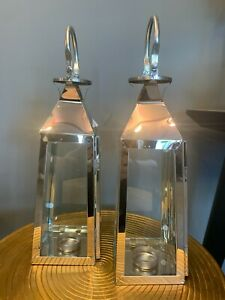 Set of 2 art deco stainless steel and glass tealight silver lanterns  36cm tall