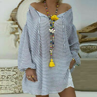 Casual Shirt Size Loose Pullover Sleeve Long V-neck Tunic Tops Plus Women Blouse