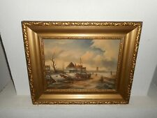 Old oil painting,{ Winterlandscape with a sailboat & people on the ice }.