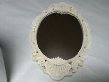 Shabby Chic White Oval Footed Vanity Dresser Mirror ~ Absolutely Beautiful