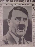VINTAGE NEWSPAPER HEADLINE~WORLD WAR 2 GERMANY BERLIN NAZI HITLER DEAD WWII 1945