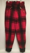 VTG PLAID WOOL HUNTING PANTS SOO WOOLEN MILLS RED & BLACK 100% Wool