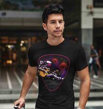 Men's Space T Shirt Guitar Shirts Moon Shirt Astronaut T Shirt Musician Shirts H