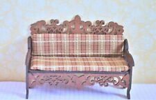 Dollhouse Miniature Living Room Bench & Cushion Handcrafted 1:12 Brown