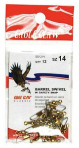 Eagle Claw Barrel Swivel With Safety Snap, Brass, Size 14, 12 Pack