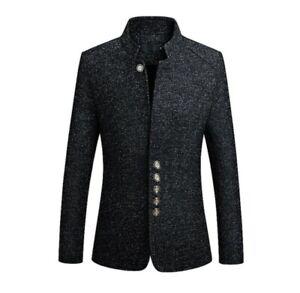 Men's British Casual Winter Warm Wool Trench Outwear Long Overcoat Coat Jacket