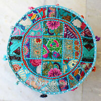 """22"""" Vintage Turquoise Pouf Cover Indian Handmade Patchwork Ottoman Home Decor"""