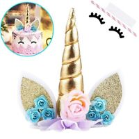 Unicorn Horn Pink Lilac Roses Large Wafer Cake Topper Decoration Supplies