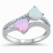 USA Seller Double Heart Ring Sterling Silver 925 Jewelry Pink White Opal Size 8