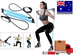Blue Greymond Portable Pilates Bar Kit Yoga Pilates Stick Muscle Toning Bar