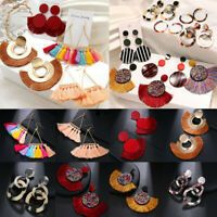 Fashion Women Bohemian Long Tassel Earrings Boho Hook Drop Dangle Fringe Jewelry