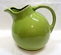 Tag Green Ball Water Pitcher With Ice Lip Brown Brush Marks on Rim