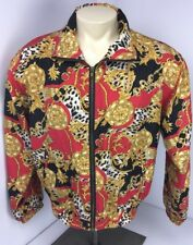 Vtg 90s Evr 100% Silk Hip Hop Cc Chains Bomber all over print jacket M BRIGHT