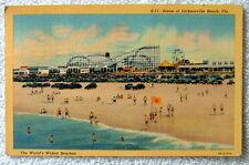 1948 Linen Postcard Scene Of Beach & Amusement Park Jacksonville Beach Florida