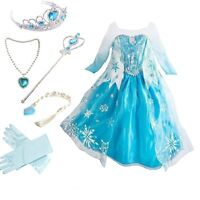 Baby Girls Toddlers Frozen Elsa Princess Party Dress Up Costume with accessories