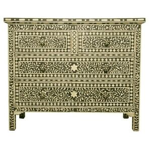 Bone Inlay Chest of 4 drawers dresser Green floral (MADE TO ORDER)