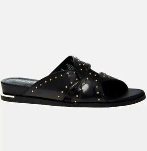 DKNY Black Gold Stud Detail Slider Sandals Shoes UK4/EUR37/US6.5 BNWT