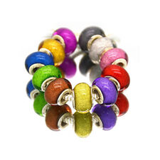 50pcs Mixed Silver Murano  Acrylic Charms Beads Fit European Charm Bracelet