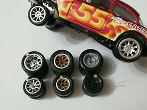 REAL RIDERS WHEELS RUBBER TIRES 55 CHEVY GASSER 3 SETS 1/64 HOT WHEELS MIX MATCH