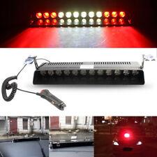 12 LED Red-White-Red Car Emergency Warning Beacon Strobe Light Bar Dashboard