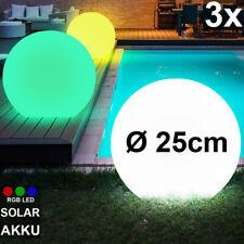 3er Set RGB LED Erdspieß Kugel Leuchten SOLAR Grundstück Garten Steck Lampen