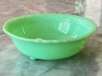 McKee Jadeite Skokie Green Laurel Pattern 3 Foot Toe Jelly Bowl ~ Jadite Glass