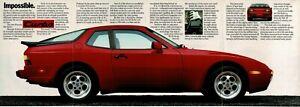1986 PORSCHE 944 Turbo red sports car centerfold poster Vintage Print Ad