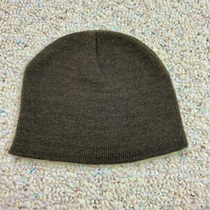 Unbranded Childrens Unisex Beanie One Size Olive Green Tight Knit Stretch