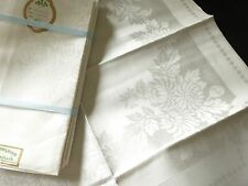 UNUSED White Antique Vtg IRISH DOUBLE DAMASK LINEN Tablecloth, 12 Napkins 70x106