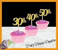 Cupcake Topper x 6, Any Age 1 2 3 4 10 13 16 18 20 21st 30 40 50th 60 70 80 90