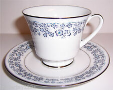 Fine China Cup and Saucer Set Kenmark Sego Lily 2559 Blue Flowers on White Japan