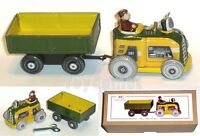 MS511 European Tractor Wagon Clockwork Wind Up Tin Toy w/Box