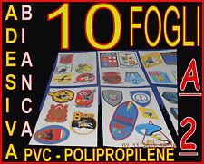 10 PEZZI CARTA AUTO ADESIVA BIANCA PVC LUCIDA X STAMPANTE LASER A2 POLIPROPILENE