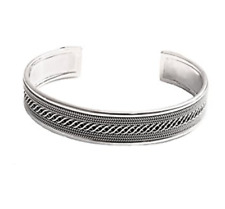 TreasureBay Men's Solid 925 Sterling Silver Bangle Bordered Braid Design TBS929