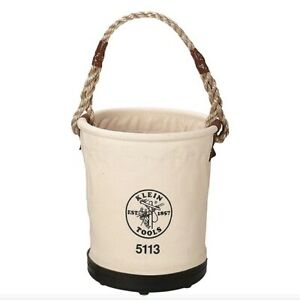 KLEIN TOOLS 5113 Bucket Bag, Canvas, Tapered Wall, Off White, Rope Handle, NEW
