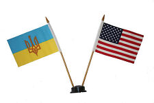 """USA & UKRAINE-TRIDENT 4"""" X  6"""" DOUBLE STICK FLAG WITH BLACK STAND ON 10"""" PL.POLE"""