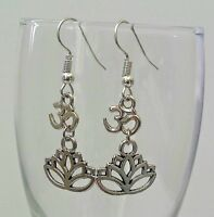Ohm Lotus flower earrings-Yoga Yogi Hindu bali dangle earring