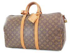 Authentic LOUIS VUITTON Keepall Bandouliere 45 Monogram Canvas Duffel Bag #37352